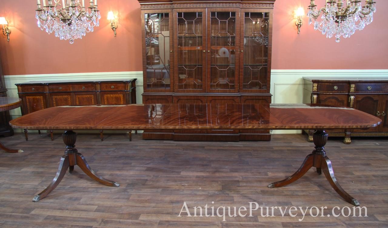 Duncan Phyfe Scallop Corner Double Pedestal Dining Table