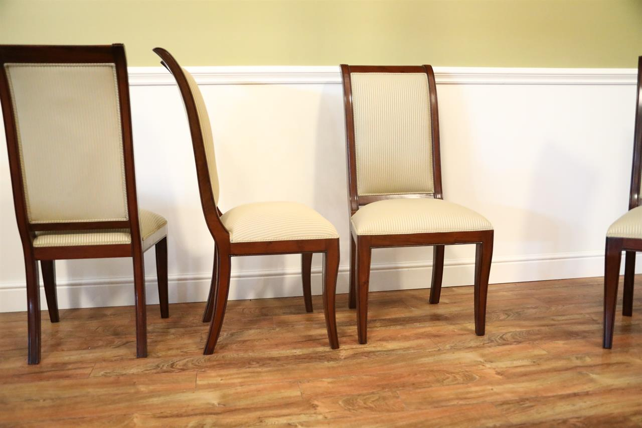 chippendale dining chair black leather and ottoman set of 8 solid mahogany transitional room chairs - sale