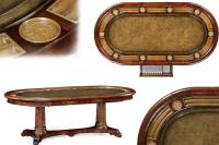 Mahogany and Walnut 10 Person Leather Top Poker Games Table