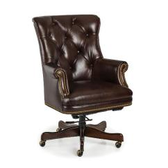 Antique Mahogany Office Chair Wicker Reclining Patio Brown Tufted Leather Executive - Conference Room