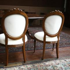 Slipcovers For Dining Room Chairs With Rounded Backs Spa Sale 8 Upholstered Mahogany Round Back