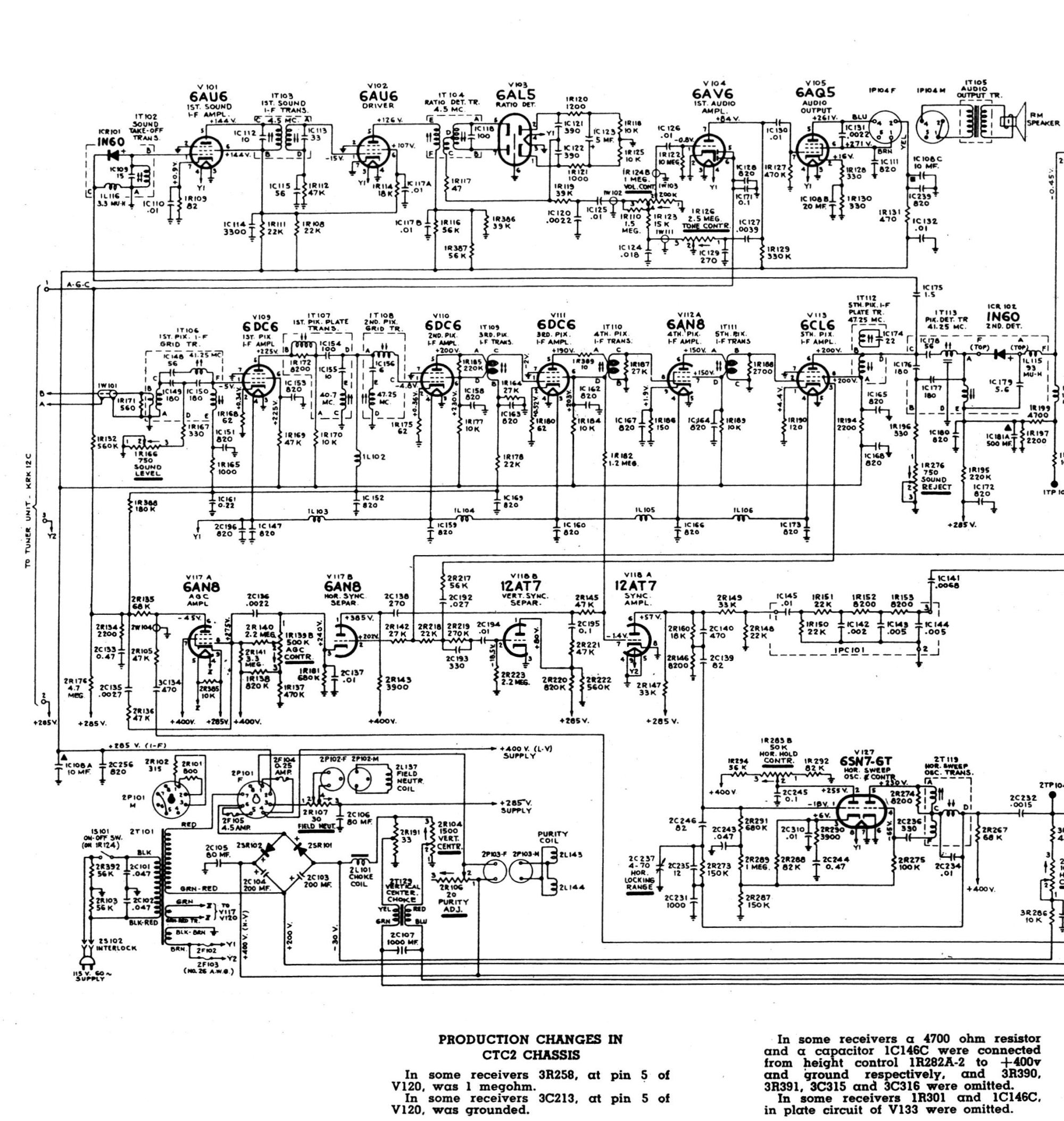 hight resolution of below is the ct 100 section from the 1954 rca television field service manual it includes a complete schematic chassis layout diagram