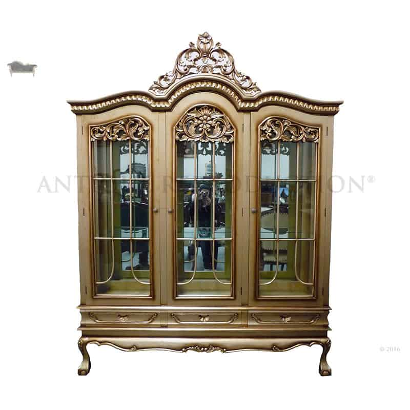 Carved French Triple Display Cabinet 3 Door Antique Gold