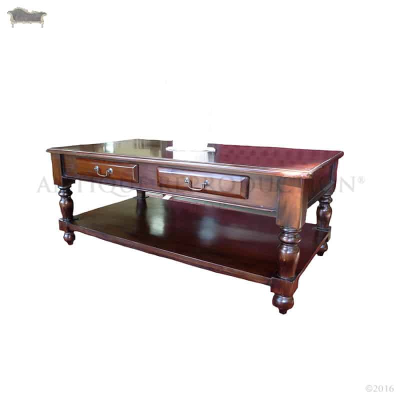 Coffee Table 2 Drawer Victorian With Shelf Antique