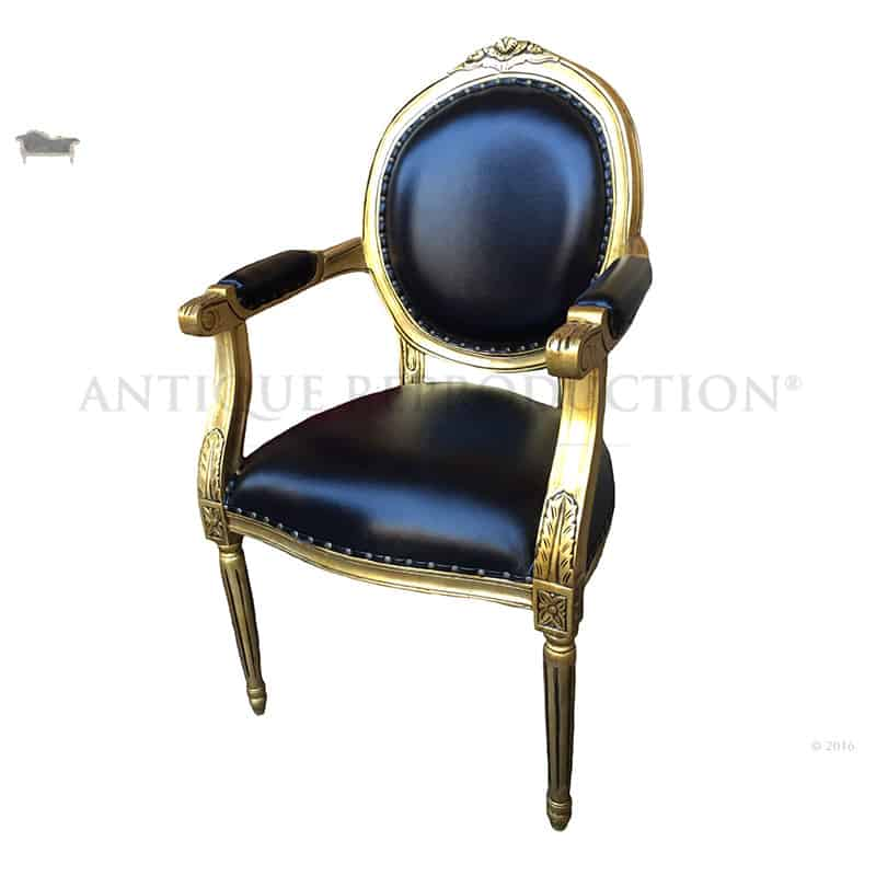 french louis chair thomasville cane back dining chairs oval arm carver in antique gold with black leather - reproduction shop