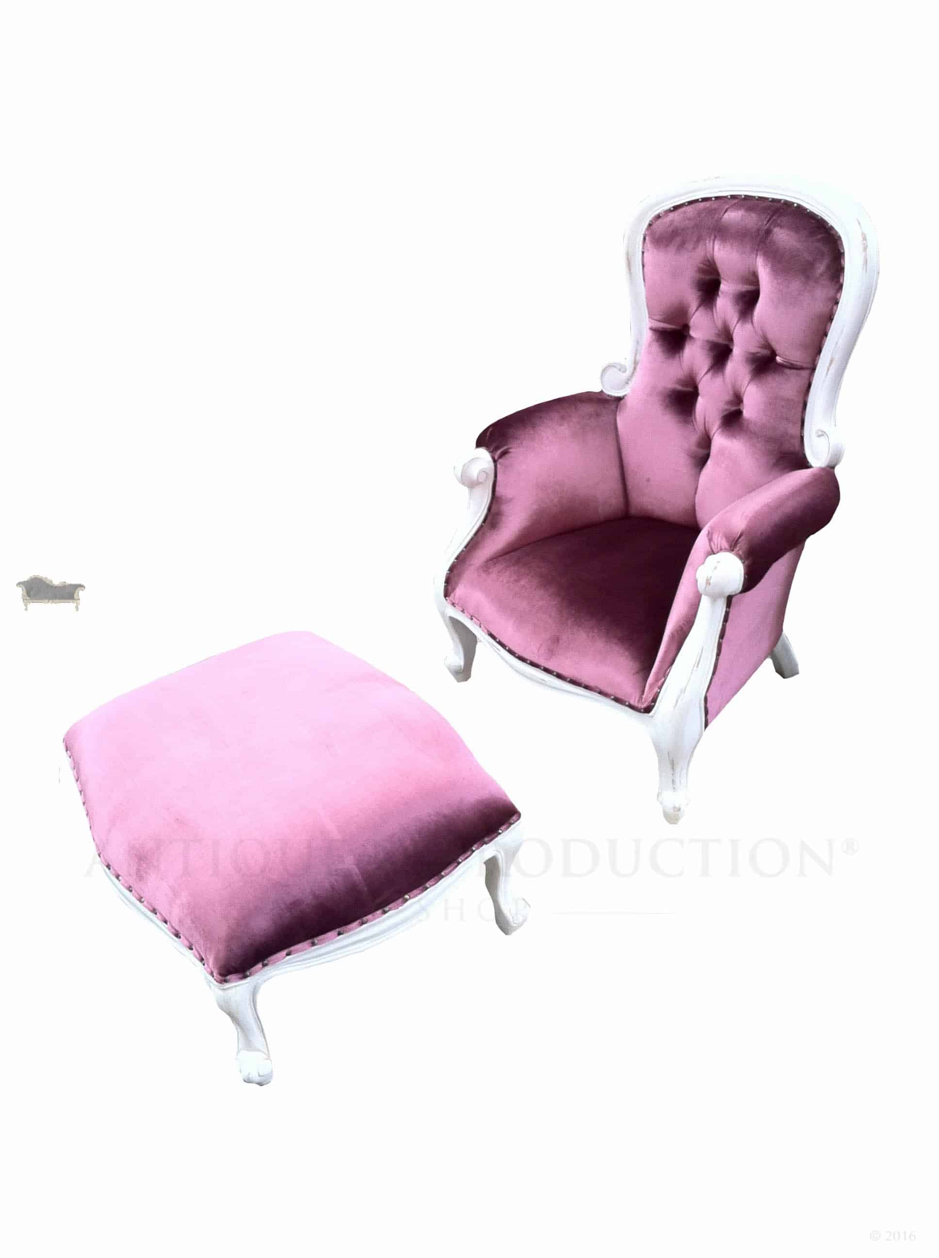Grandfather Chair Pink Velvet with Lounge Stool