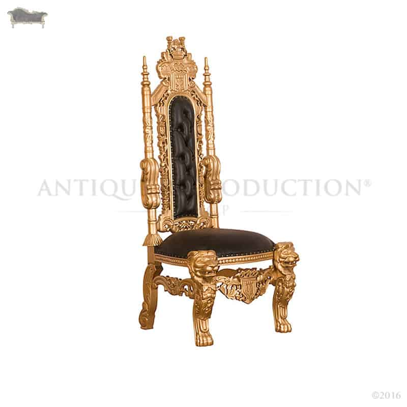 custom made throne chairs zero gravity reclining chair review lion king black with antique gold - reproduction shop