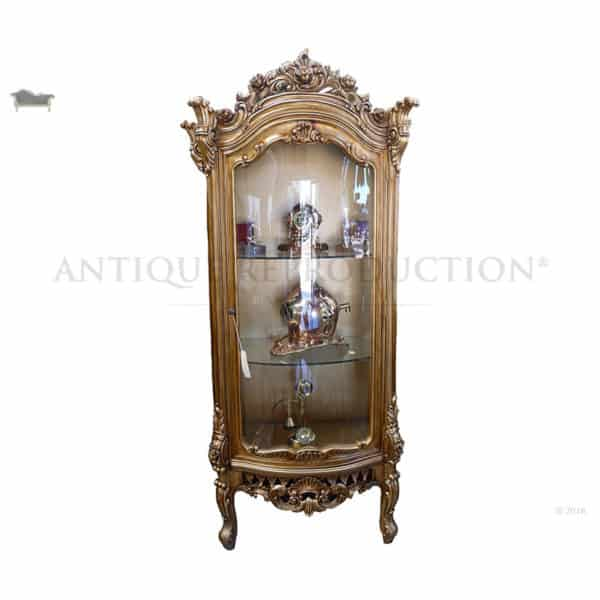 gold dining chairs office chair diy louis rose carved display cabinet 1 door antique reproduction - shop