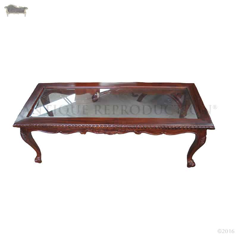 queen anne living room sets kitchen plans coffee table glass inlay 140cm - antique ...