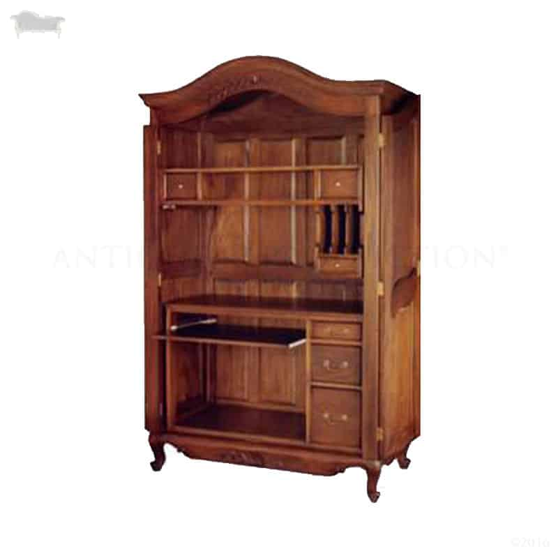 French Armoire Computer Desk Cabinet Antique Reproduction