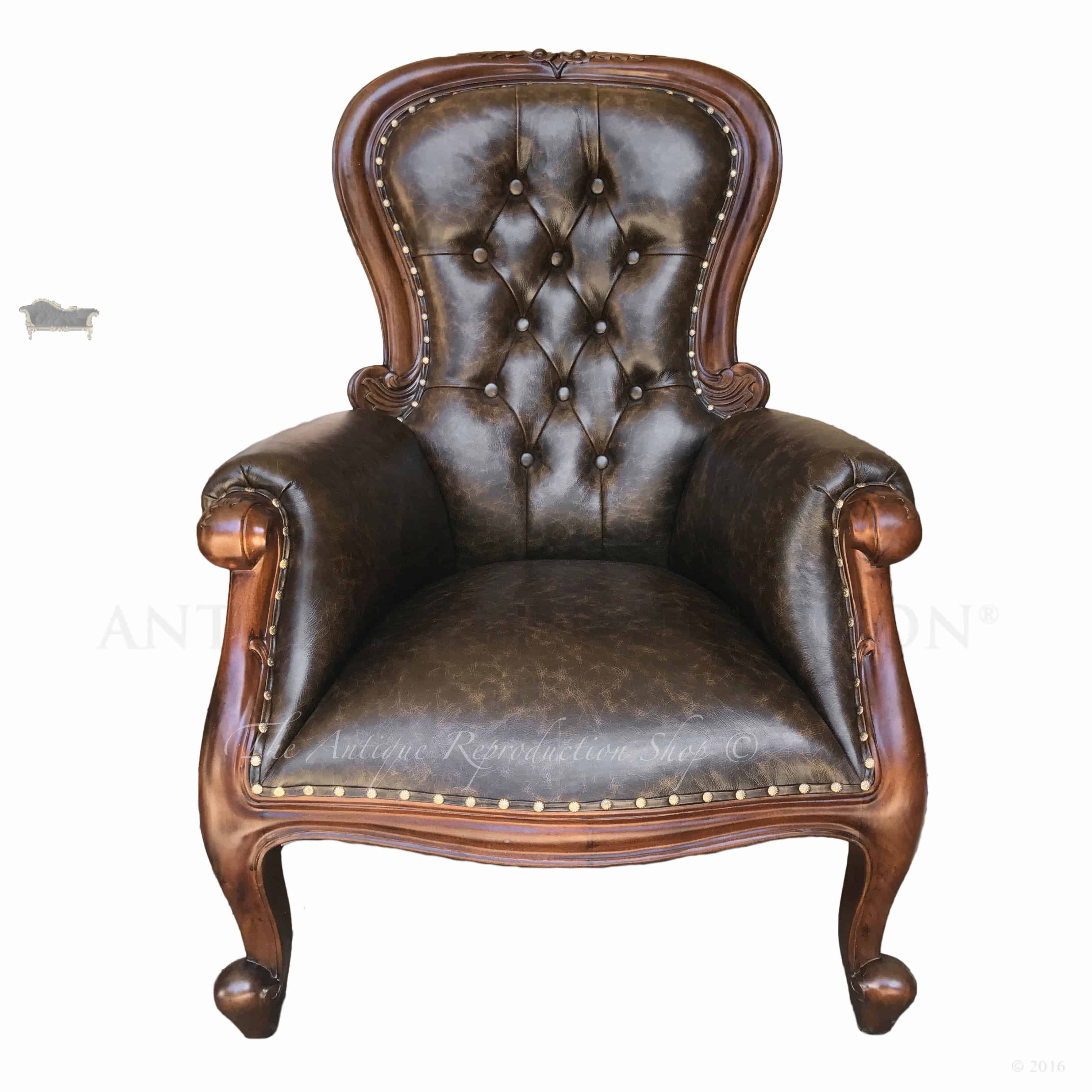 genuine leather chair blue wing back grandfather antique reproduction shop