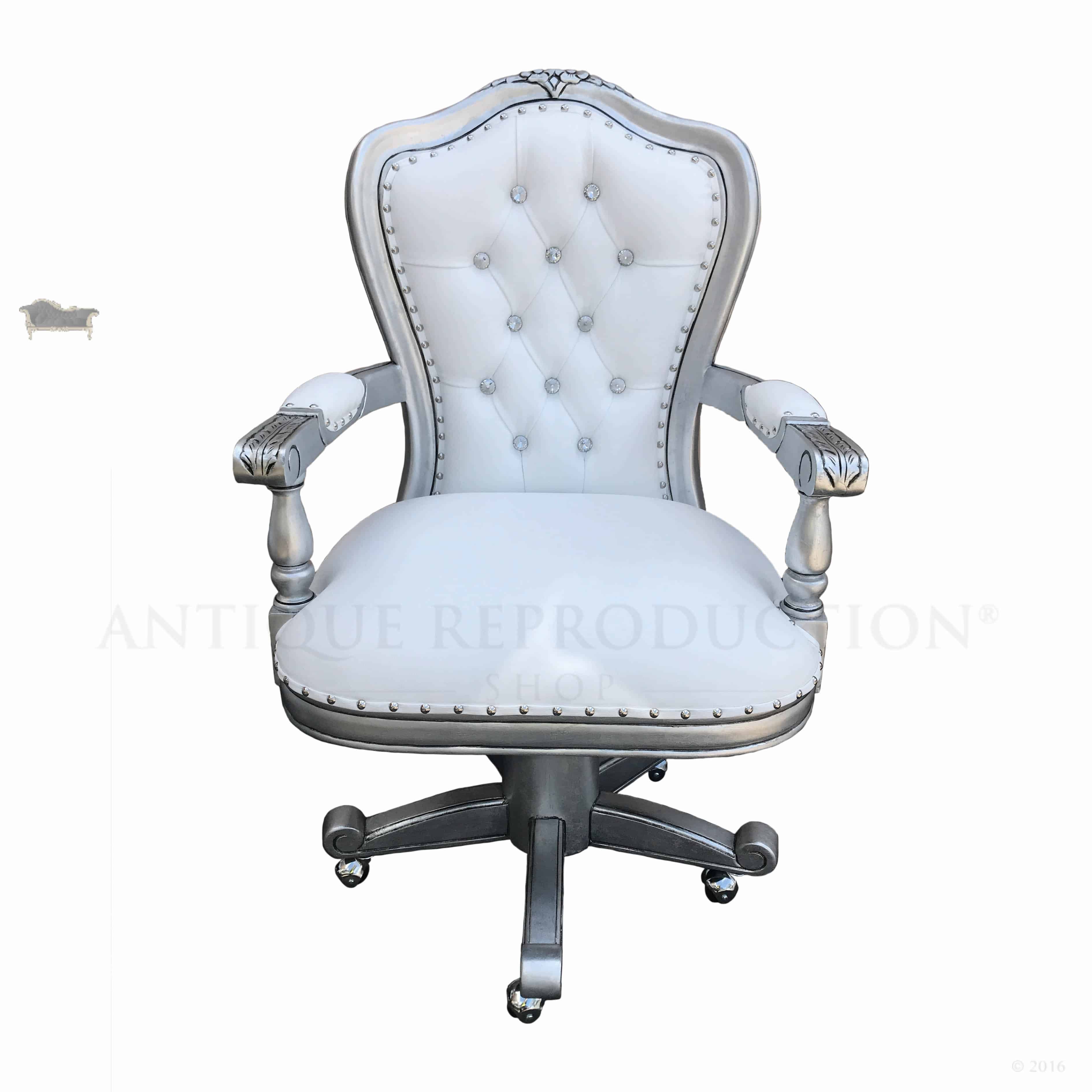 Antique Silver Presidential Swivel Office Chair With White And Crystal Upholstery Antique Reproduction Shop