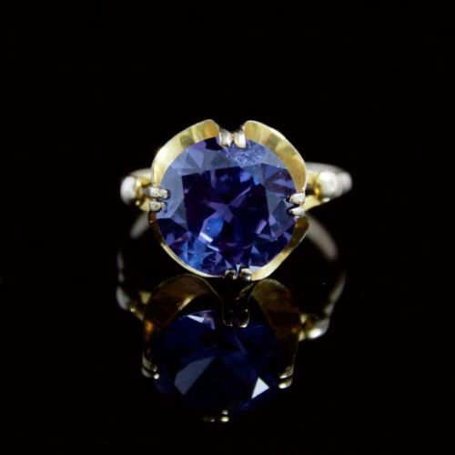ANTIQUE 8CT ALEXANDRITE 14CT GOLD RING  SUPERB QUALITY