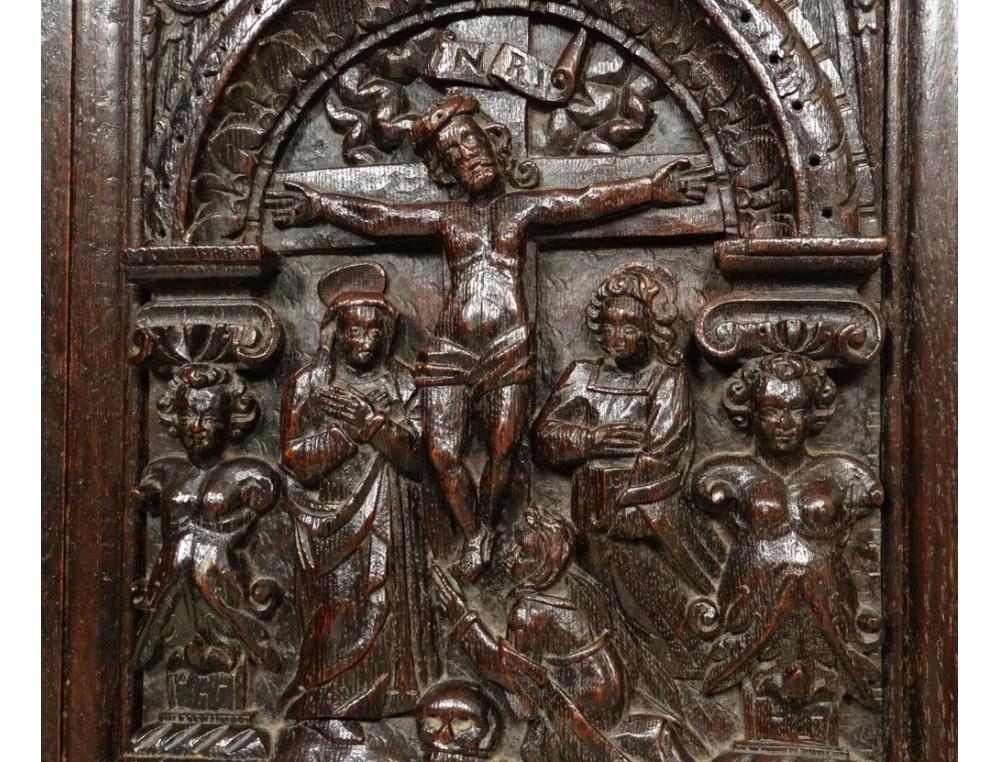 Carved oak cabinet rectory living Christ angels dragon