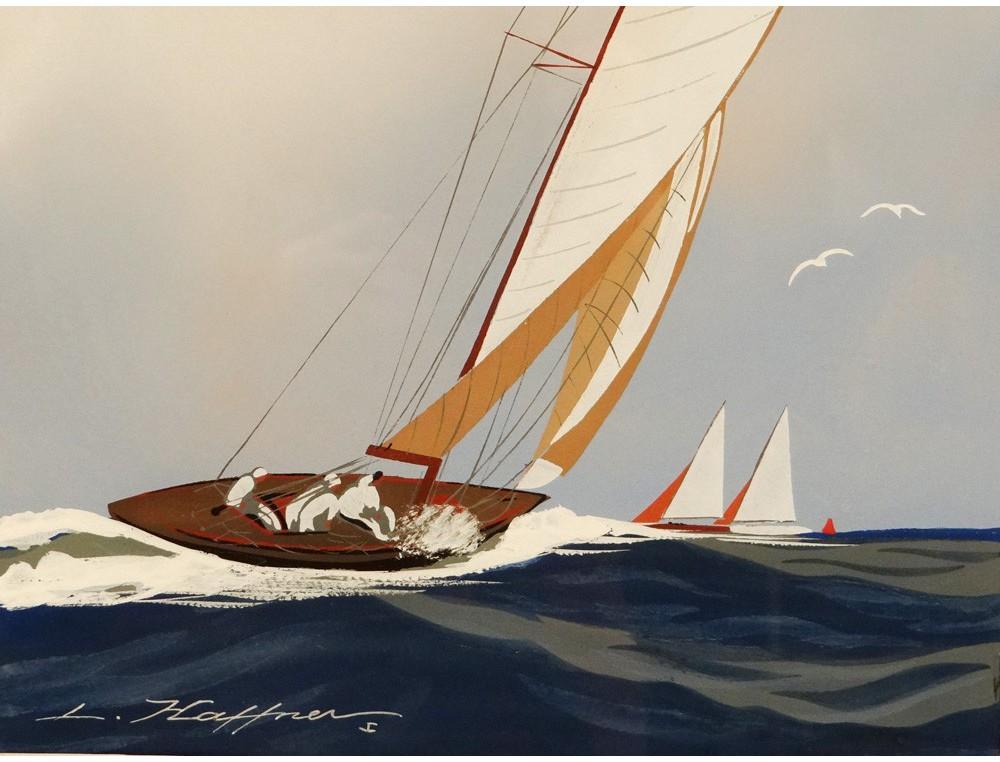 Gouache marine boat yacht sailboat regatta Wed Lon Haffner twentieth century