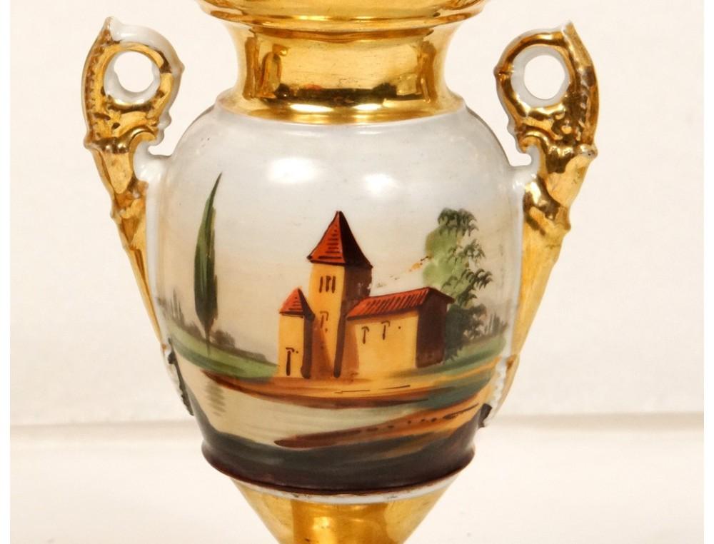 Medici porcelain vases pair Paris scene galante Louis