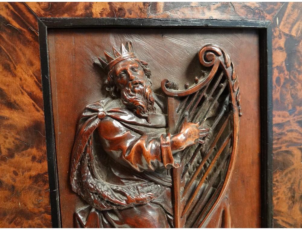 Basrelief carved panel King David harp Israel magnifying glass adorns walnut XVII