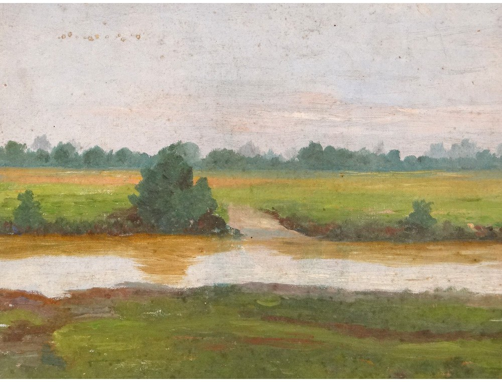 HST tableau paysage campagne bord Loire painting XIXme sicle
