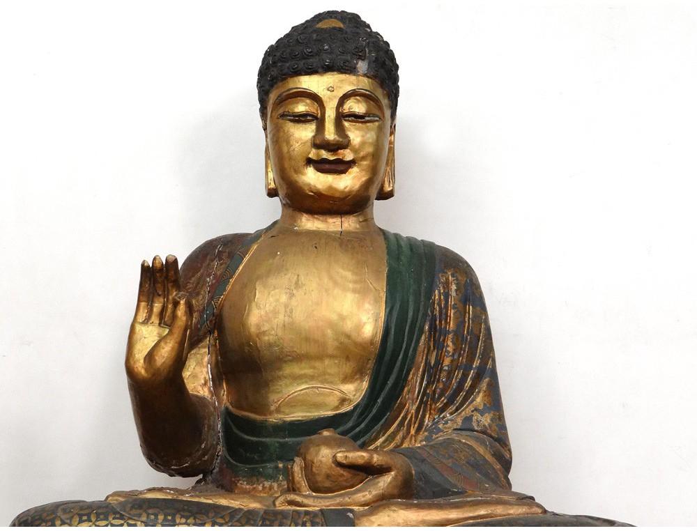 Grande sculpture statue Bouddha Indonsie bouddhisme bois