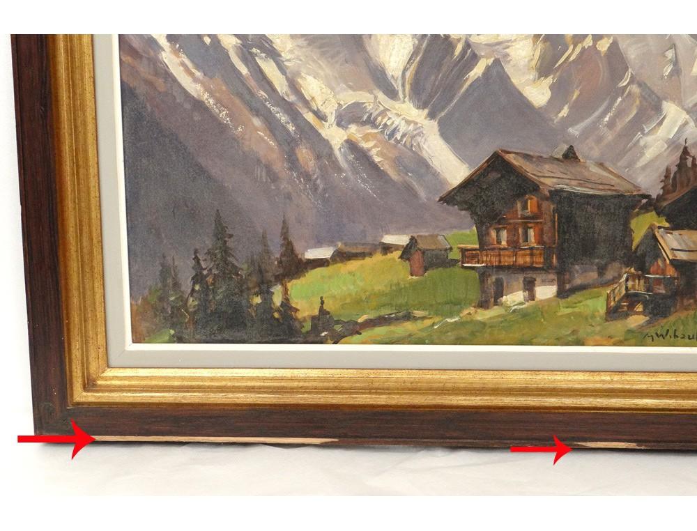 HSP peinture paysage montagne enneige MWibault village