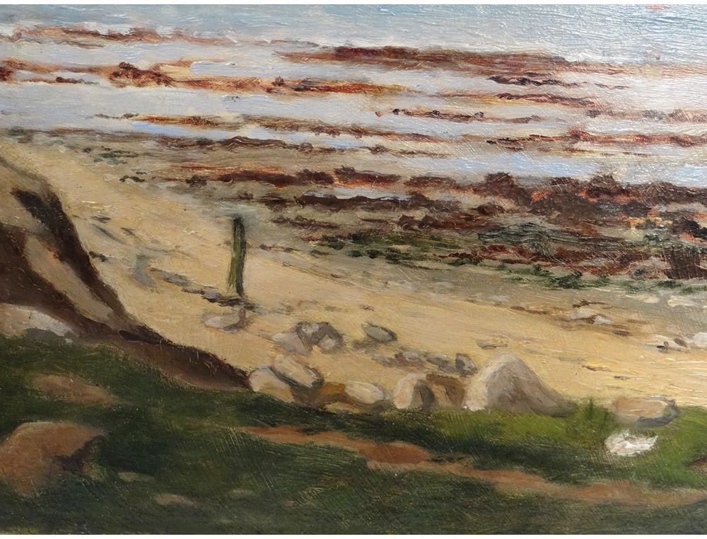 HSP tableau paysage marine bord de mer Normandie plage XIXme sicle