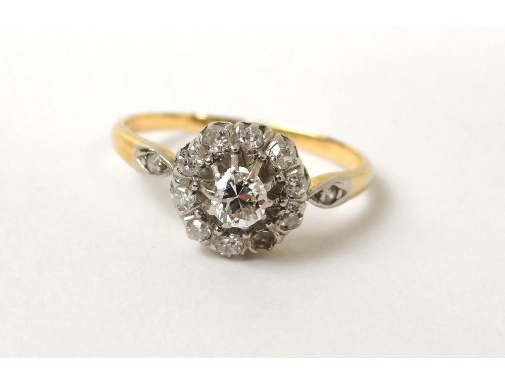 Bague de fianailles  restaurer or 18 carats diamant petites roses XIXme