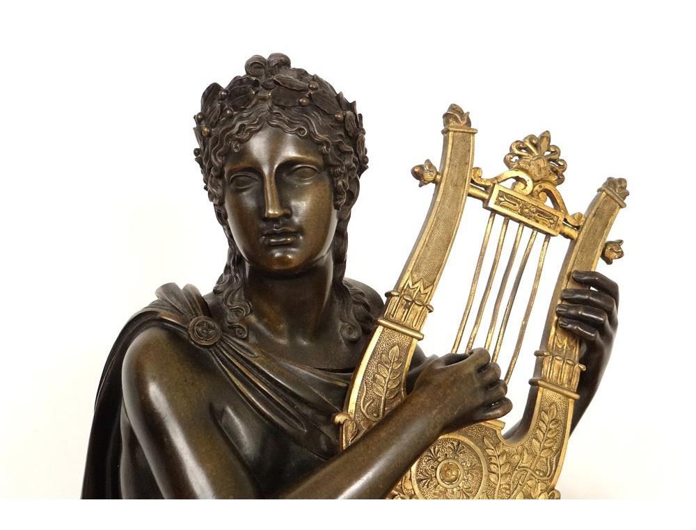 Superbe grande pendule marbre bronze dor dieu Apollon
