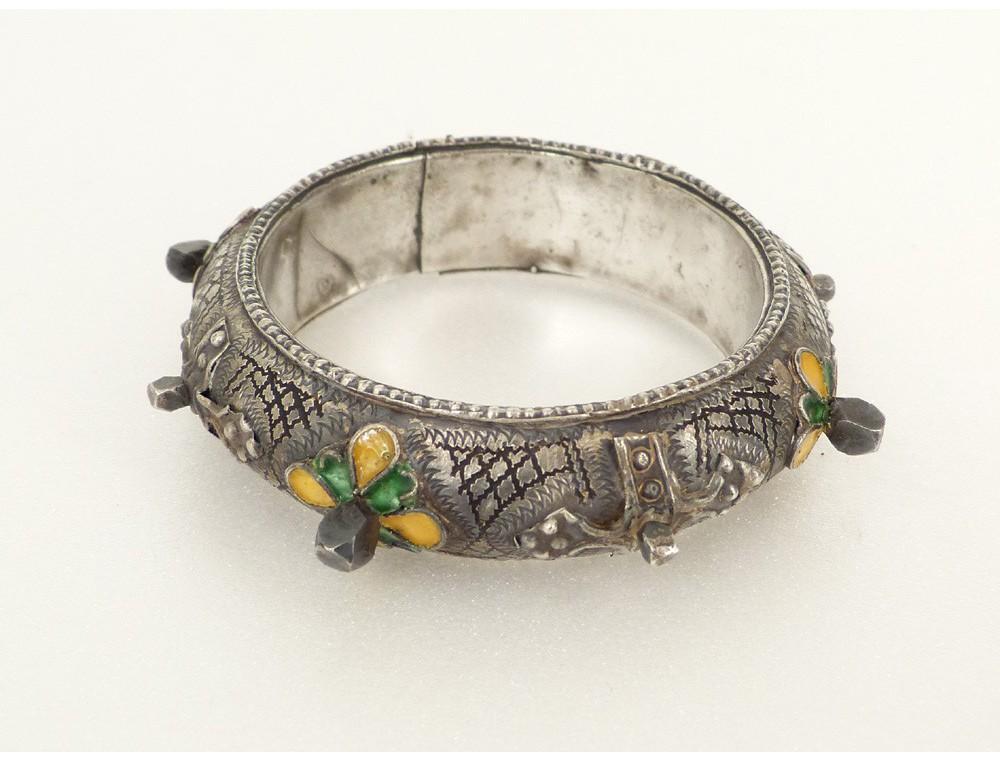 Bijou Berbre Amazigh Paire Bracelets Argent Maux Maroc Ethnique XIXme