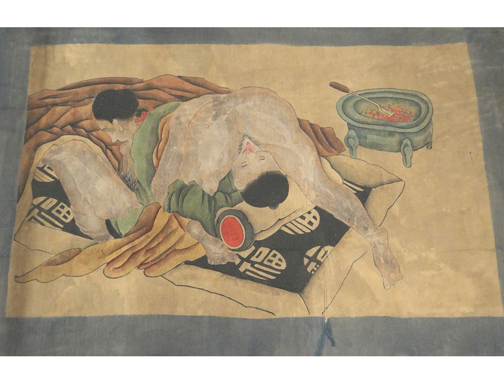 Peinture rotique couple chinois personnages kamasutra