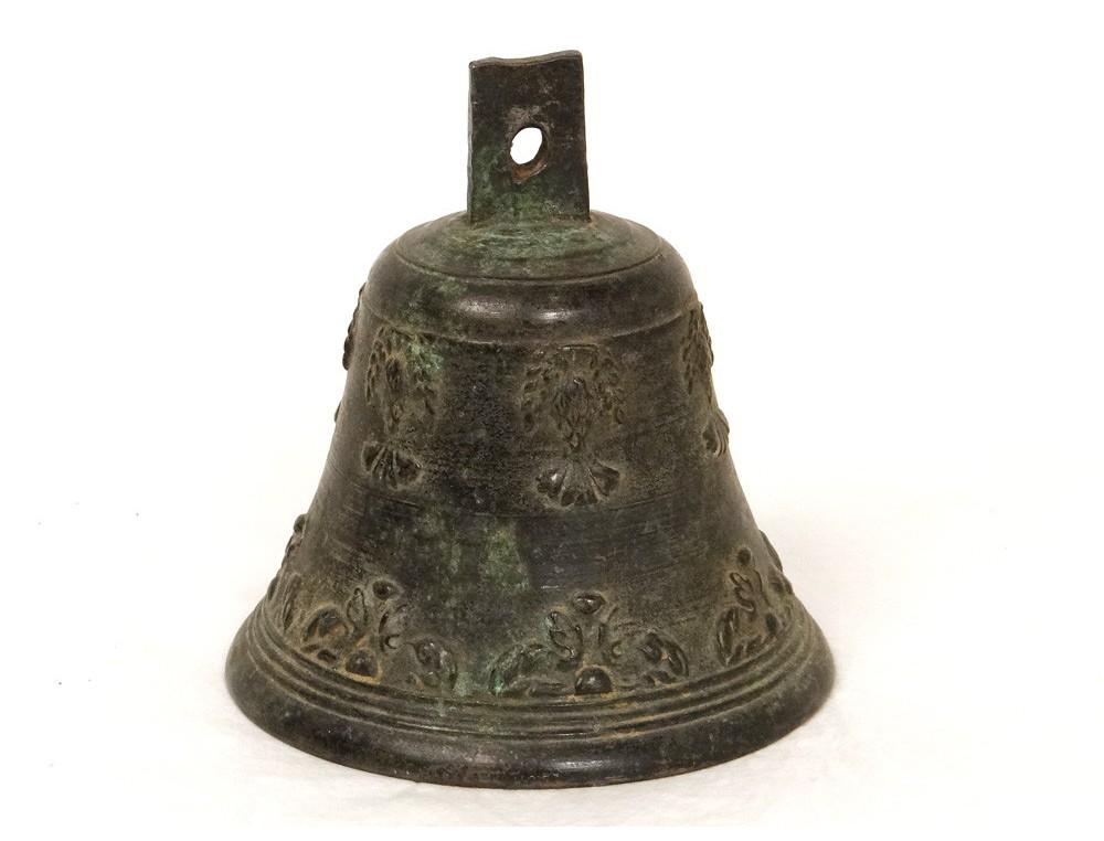 Cloche Bronze Airain Feuillage Antique French Bell Xvii 232 Me