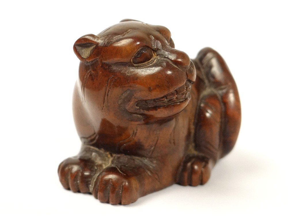Netsuke Bois Sculpt 233 Chien Lion Japon Sign 233 Xix 232 Me Si 232 Cle