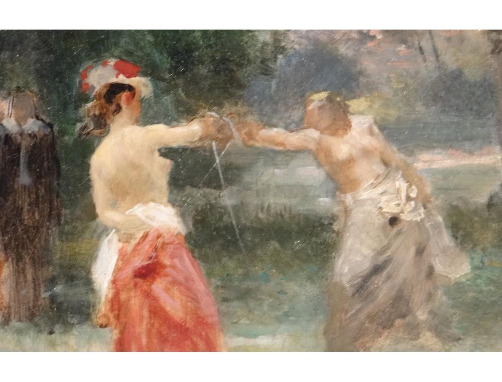 HST tableau paysage femmes duel pe Emile Bayard cadre