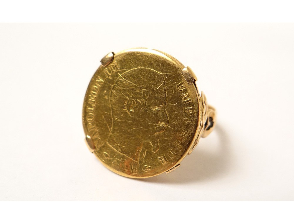 Bague or massif 18 carats pice or empereur Napolon III