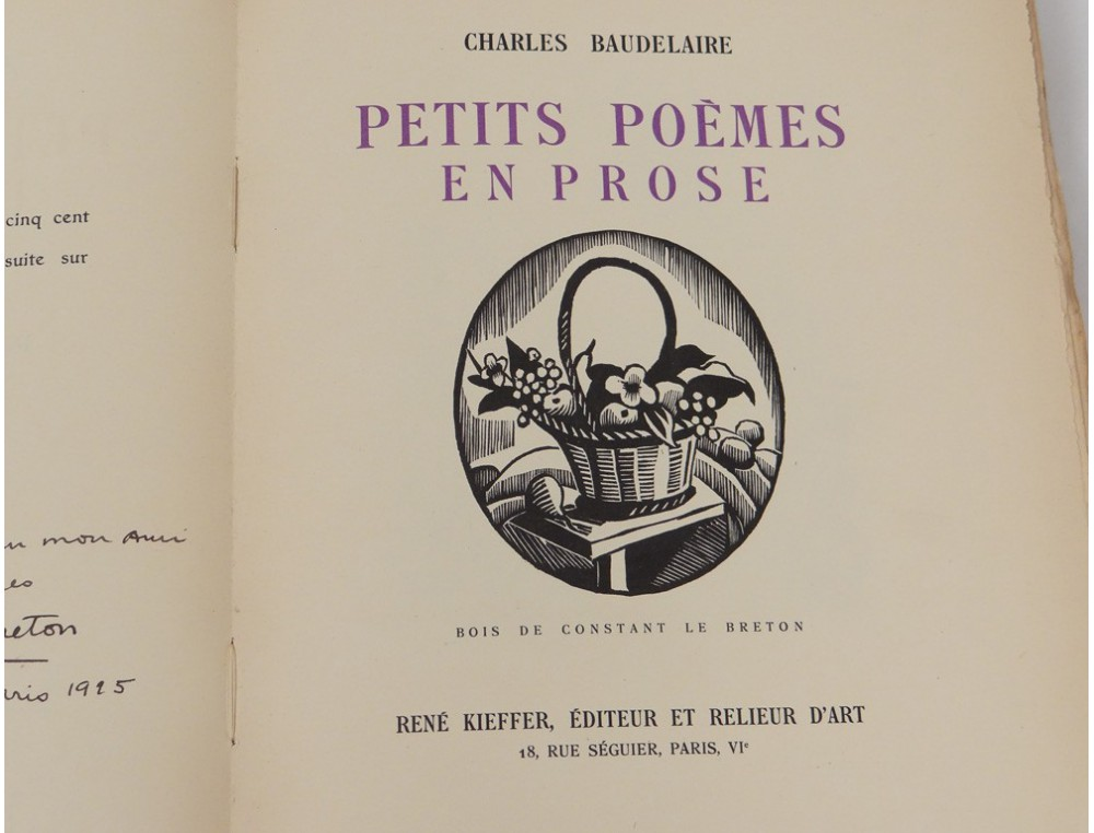Livre Baudelaire Petits pomes en prose Constant le Breton