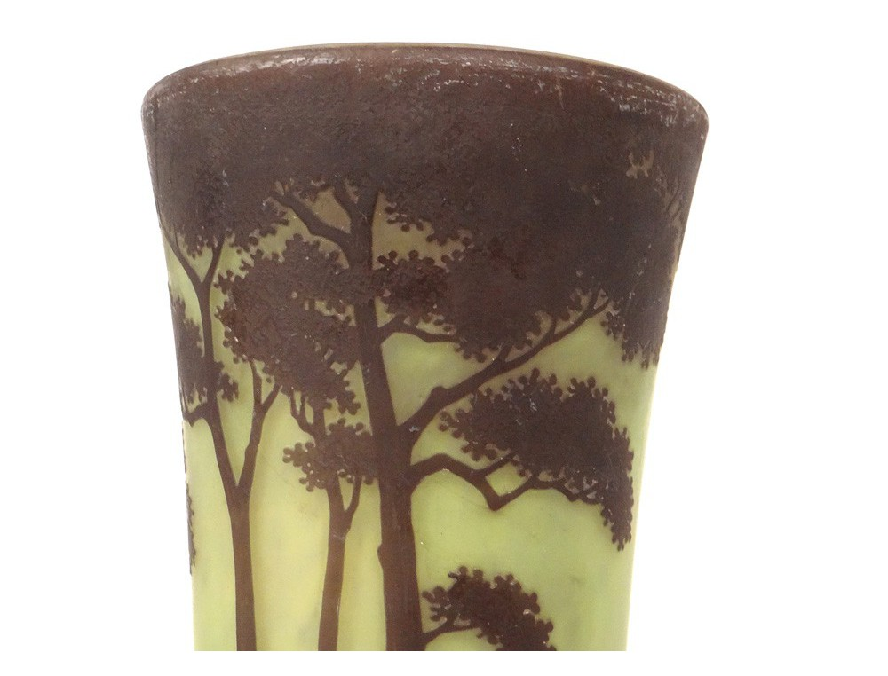 Horn vase glass paste Daum Nancy Art Nouveau landscape