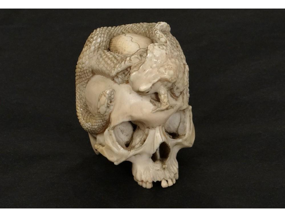 Sculpture ivoire Vanit crne serpent crapaud Japon XIXme sicle