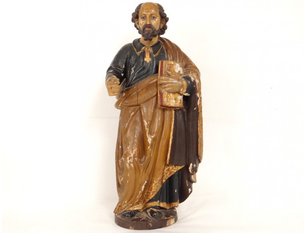Sculpture statue bois polychrome SaintPierre Bible glise XVIIIme sicle