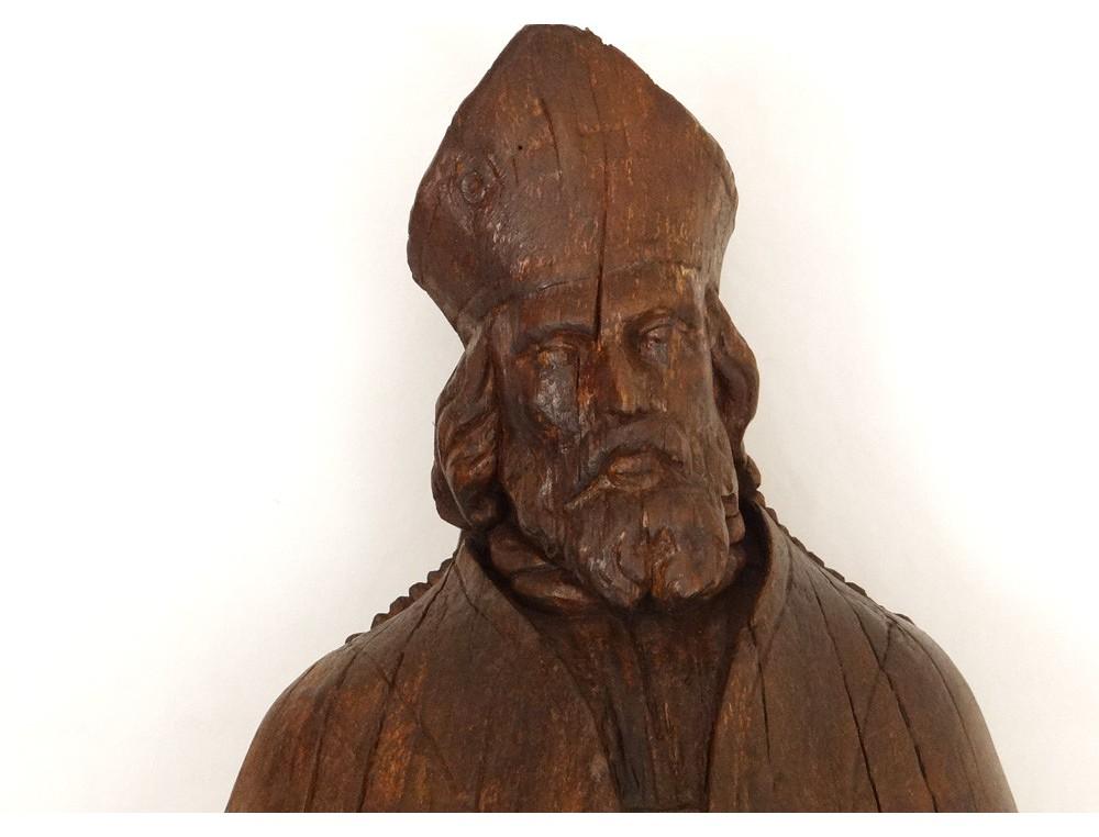 Statue sculpture bois SaintPierre vque Rome Pape mitre