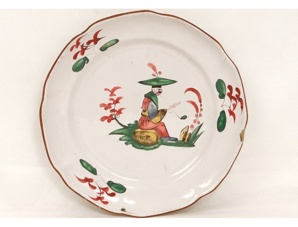 Assiette faence Les Islettes dcor chinois fumant pipe