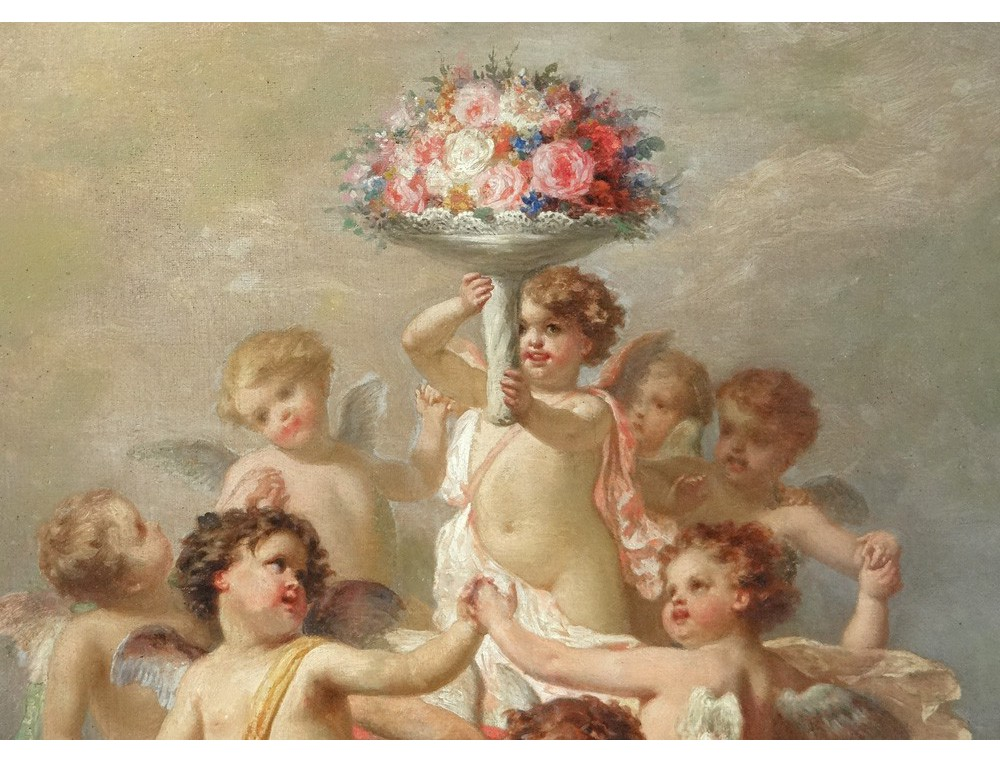 HST painting Allegory Amours cherubs putti FGonin flower painting XIX