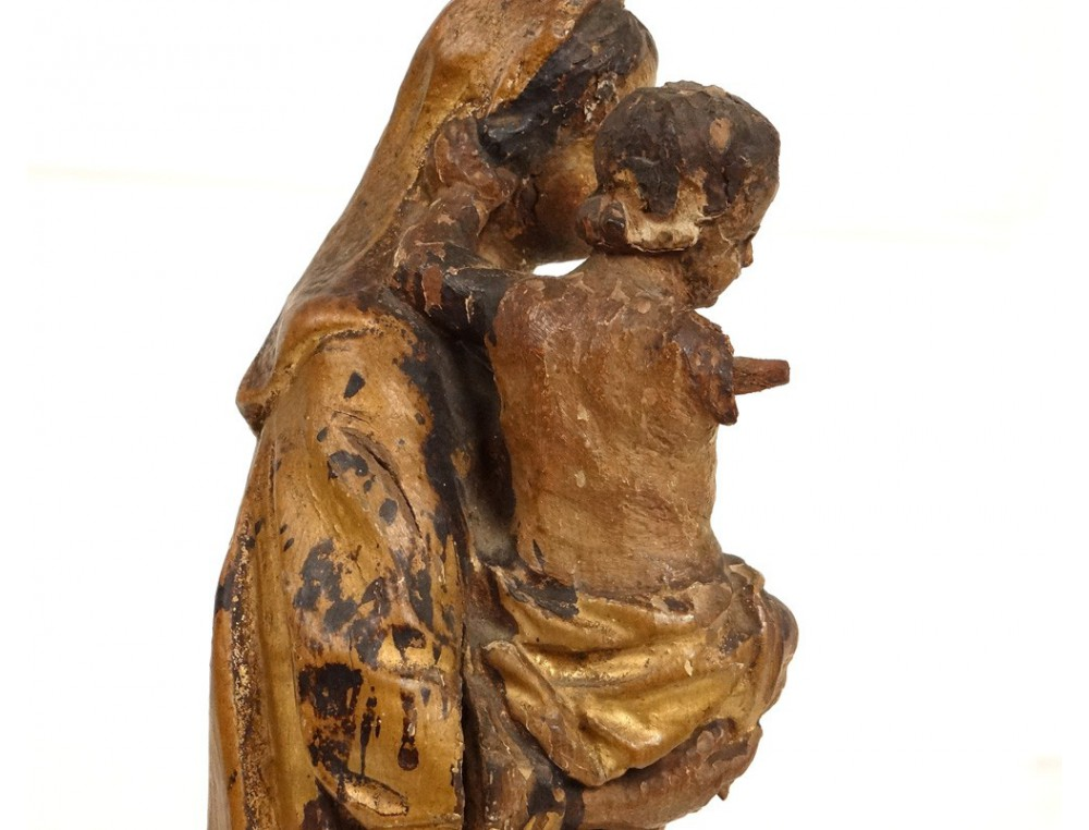 Sculpture Madonna and Child Jesus wooden carved gilded
