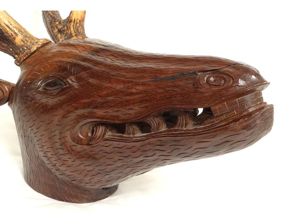 Wooden deer head sculpture carved Black Forest nineteenth