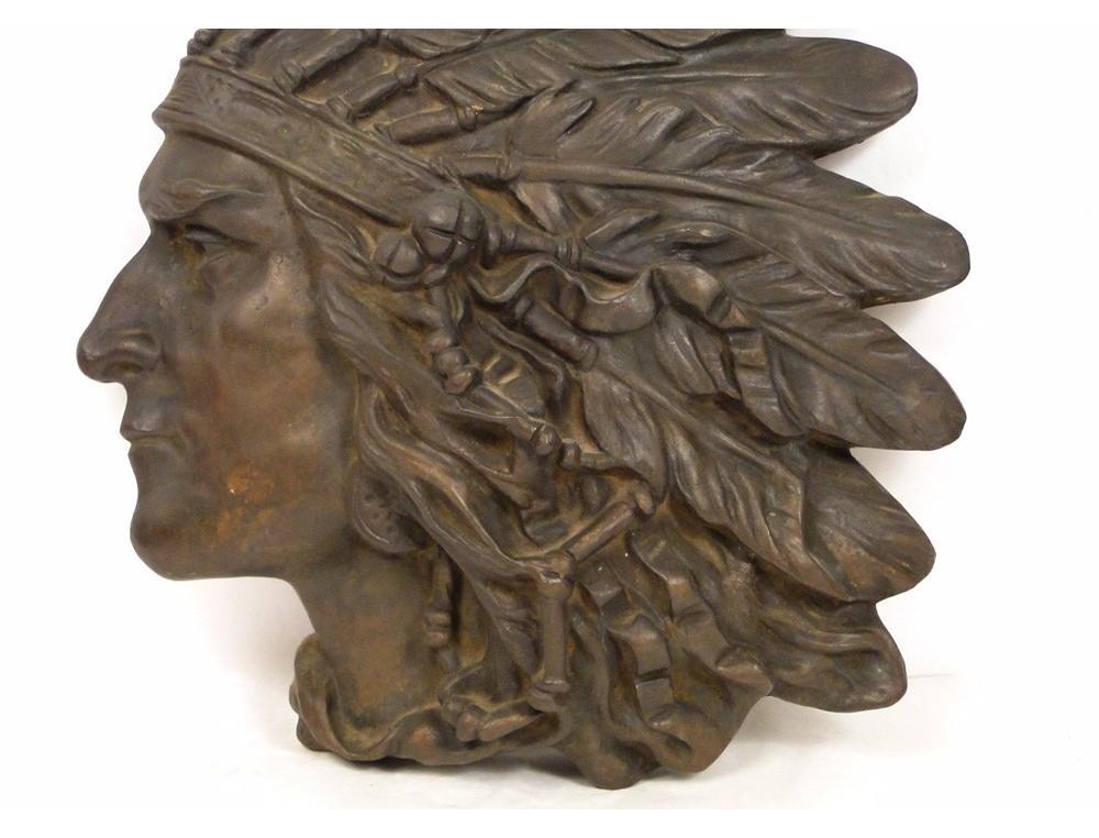 Sculpture in bronze basrelief portrait of American Indian