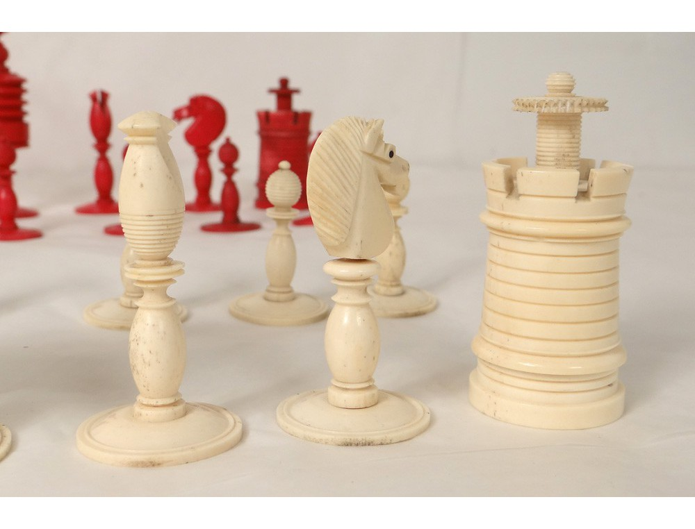 Old carved chess pieces king queen knight pawn chess XIX