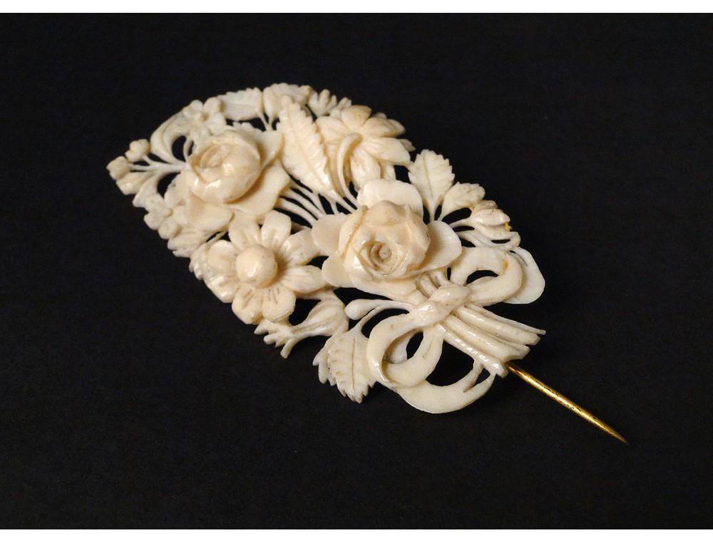 Dieppe ivory brooch flowers 19th