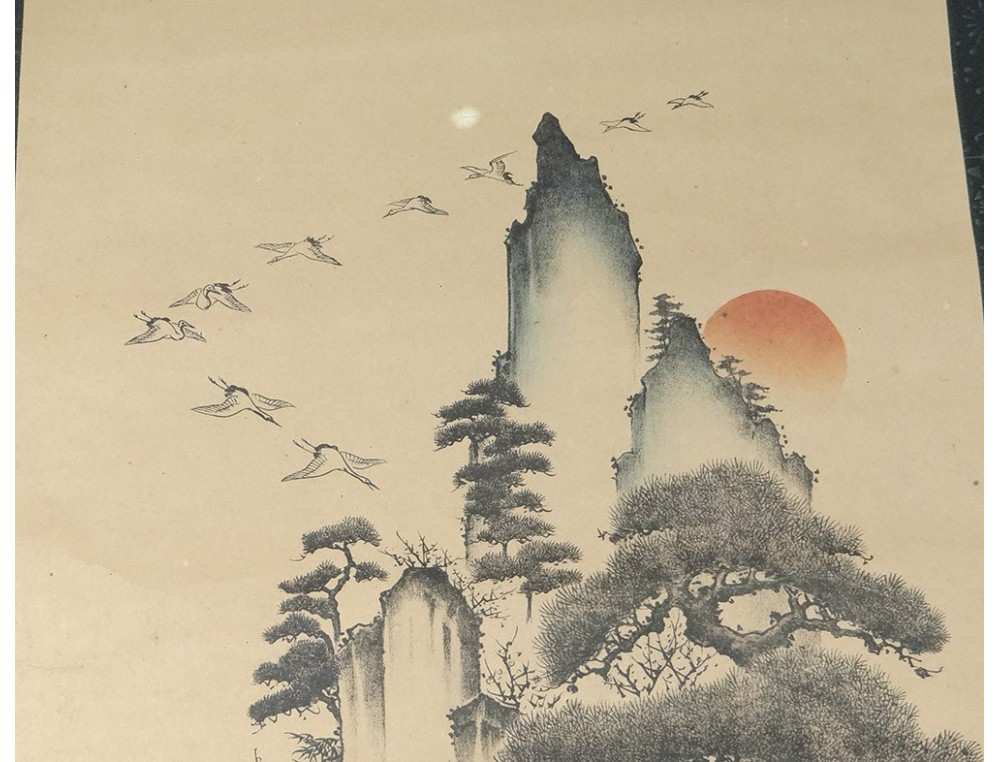 Estampe japonaise rouleau paysage montagne hron tortues