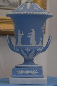 Pair of Wedgwood Jasper Blue Large Champagna Urn Lamp For