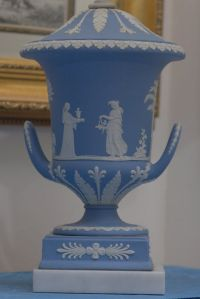 Pair of Wedgwood Jasper Blue Large Champagna Urn Lamp For ...