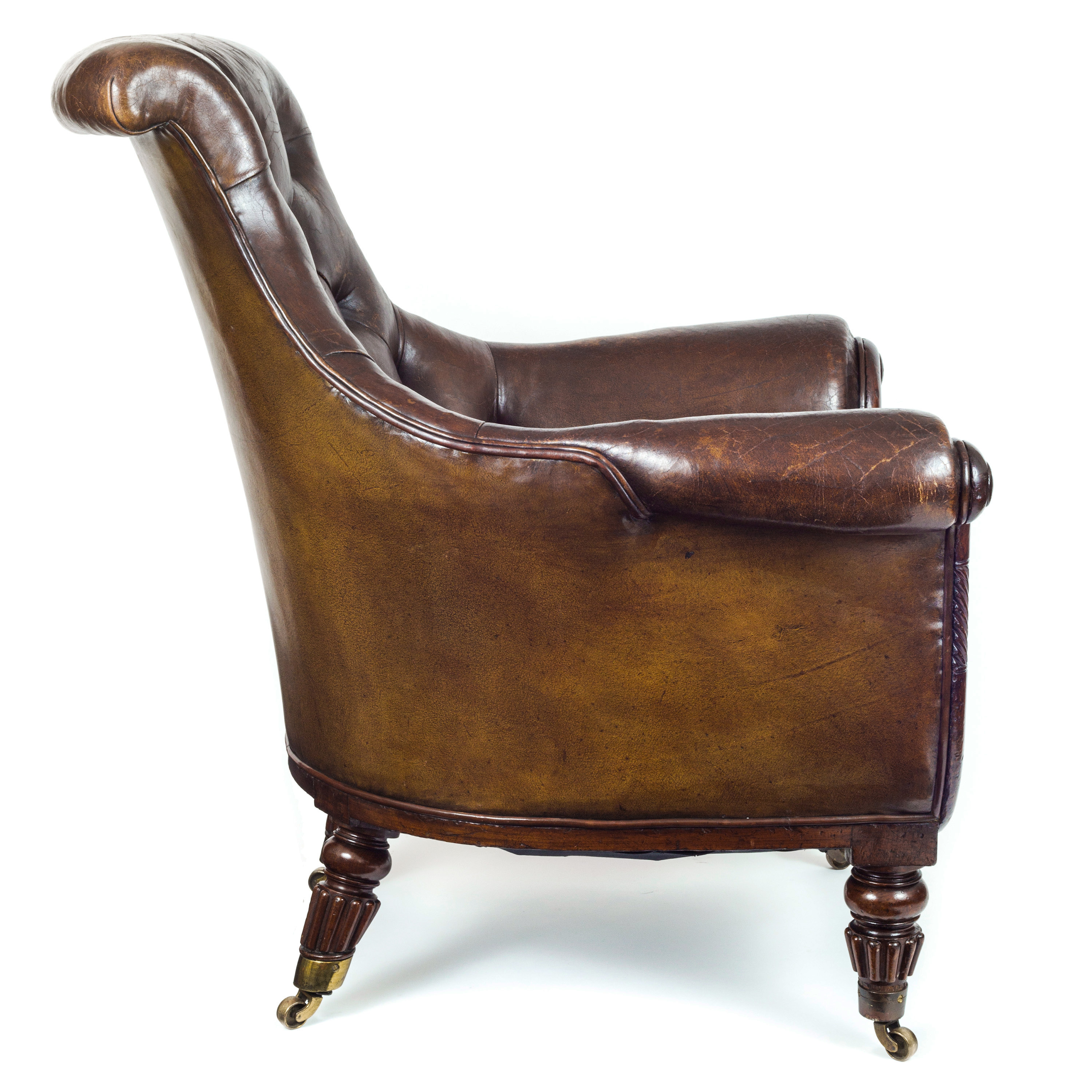 bernhardt london club leather sofa price sectional sofas for small living rooms english regency gillows tufted brown overscale