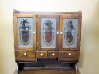 Antique Kitchen Possum Belly Cabinet Etched Glass Door For